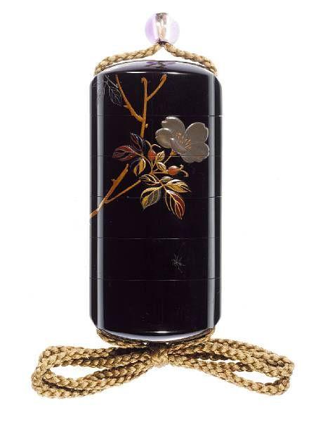 A roiro lacquer five-case inro.By Shibata Zeshin (1807-1891), Meiji Period., 花鳥図蒔絵印籠 銘「是真」 明治時代