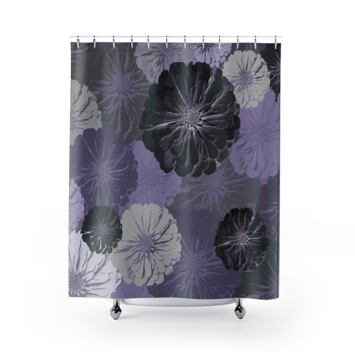 Purple And Gray Floral Print Shower Curtain Purple Bathroom