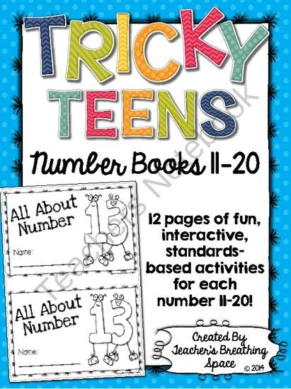 Tricky Teens 11-20 --- Interactive Number Books --- Teen Numbers 11-20 from Teacher's Breathing Space on TeachersNotebook.com -  (153 pages)  - Tricky Teens 11-20 --- Interactive Number Books --- Teen Numbers 11-20
