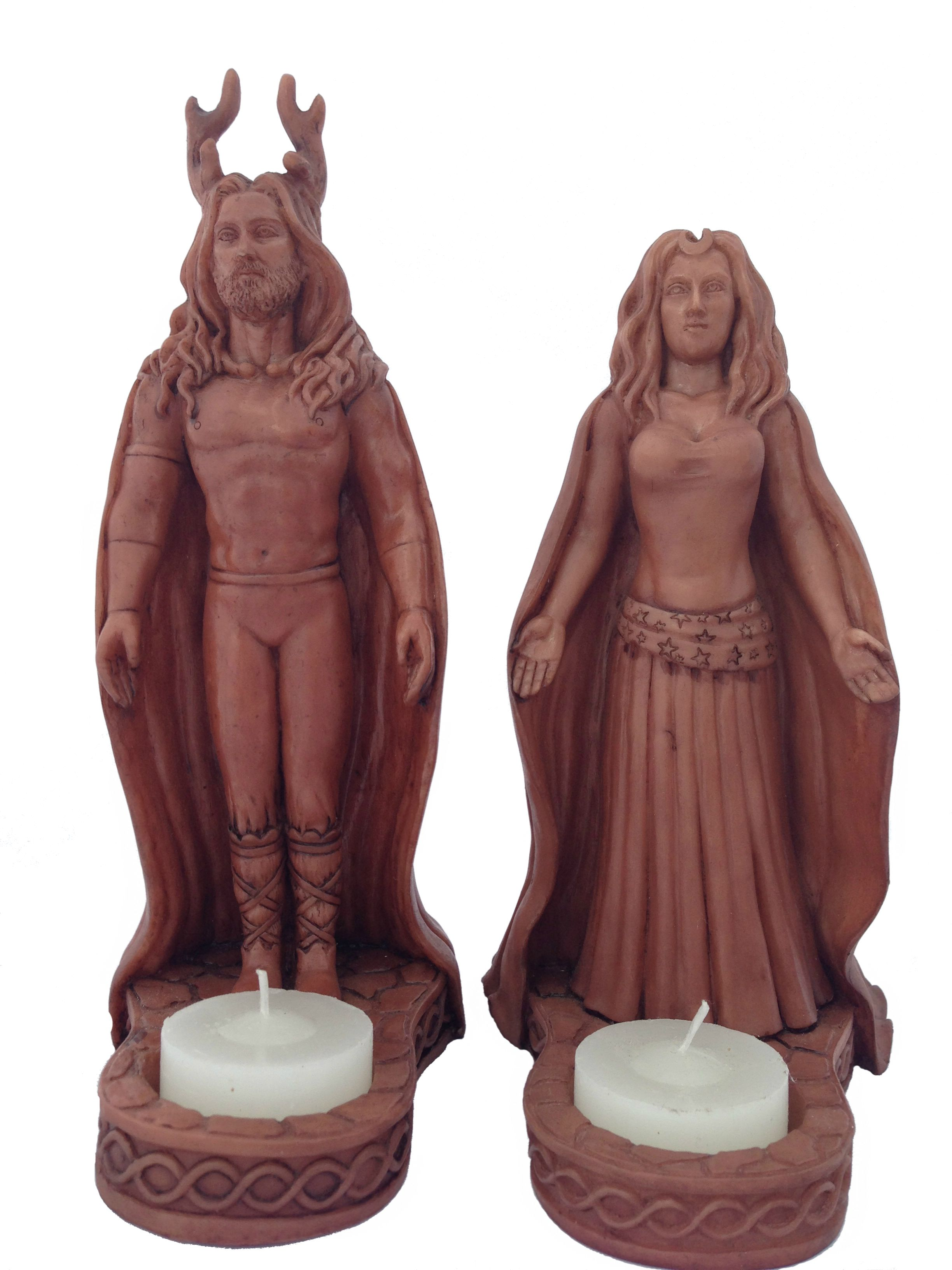 Lord Lady Horned God Moon Goddess Altar Statuary Candle Holder Set This Set Comes With 1