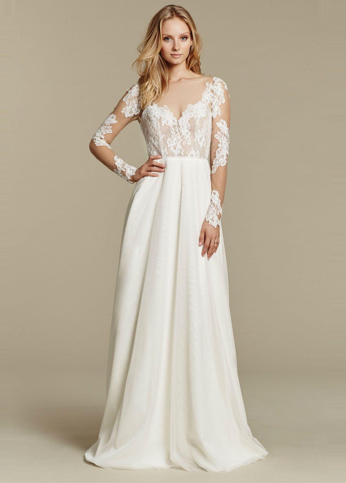 Simple lace long sleeve illusion sheath wedding dress blush by