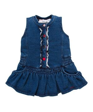 ad29cbc9f184 Look what I found on  zulily! Blue Denim Ruffle Dress - Infant   Toddler by  Chicco  zulilyfinds