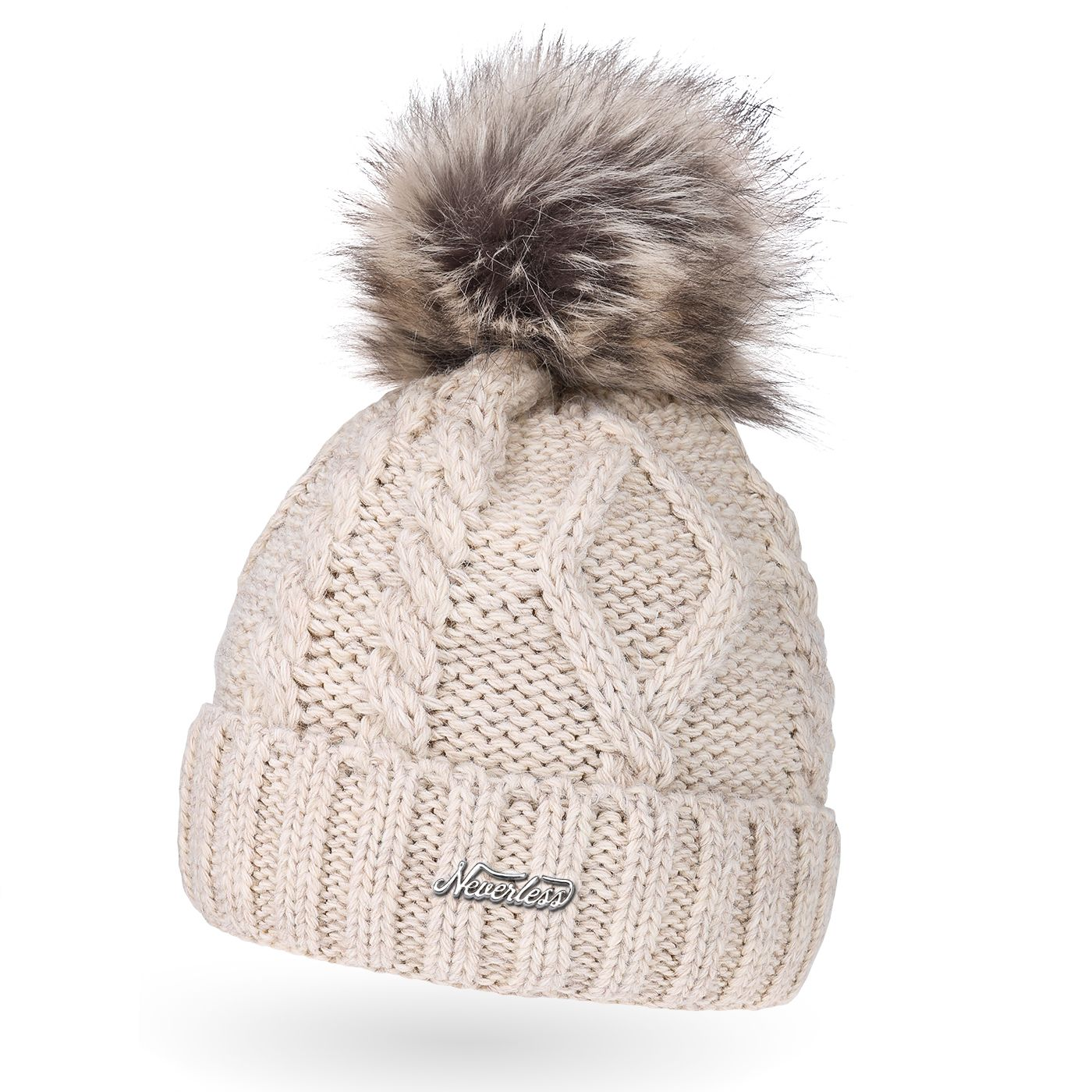 Neverless/® gef/ütterte Damen Strickm/ütze mit Doppel-Fell-Bommel und Fleece Futter Winter-M/ütze Bommelm/ütze