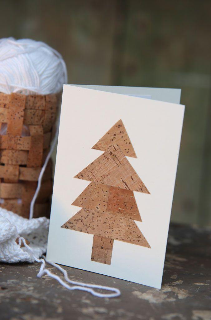 Weihnachtskarte mit Kork basteln (Foto: Christine Rauch)