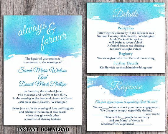 watercolor wedding invitation template download printable wedding
