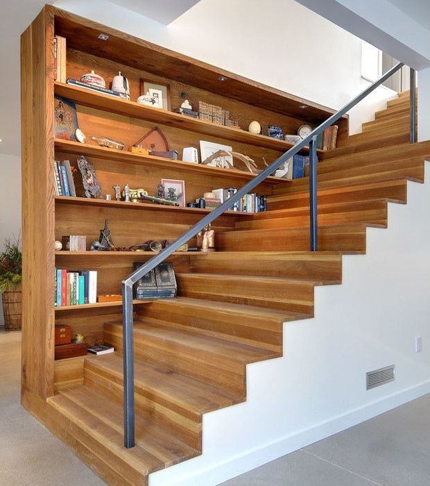 Gallery Of Staircases With Built In Shelving Units Staircase Bookshelf Staircase Design Stairs Design
