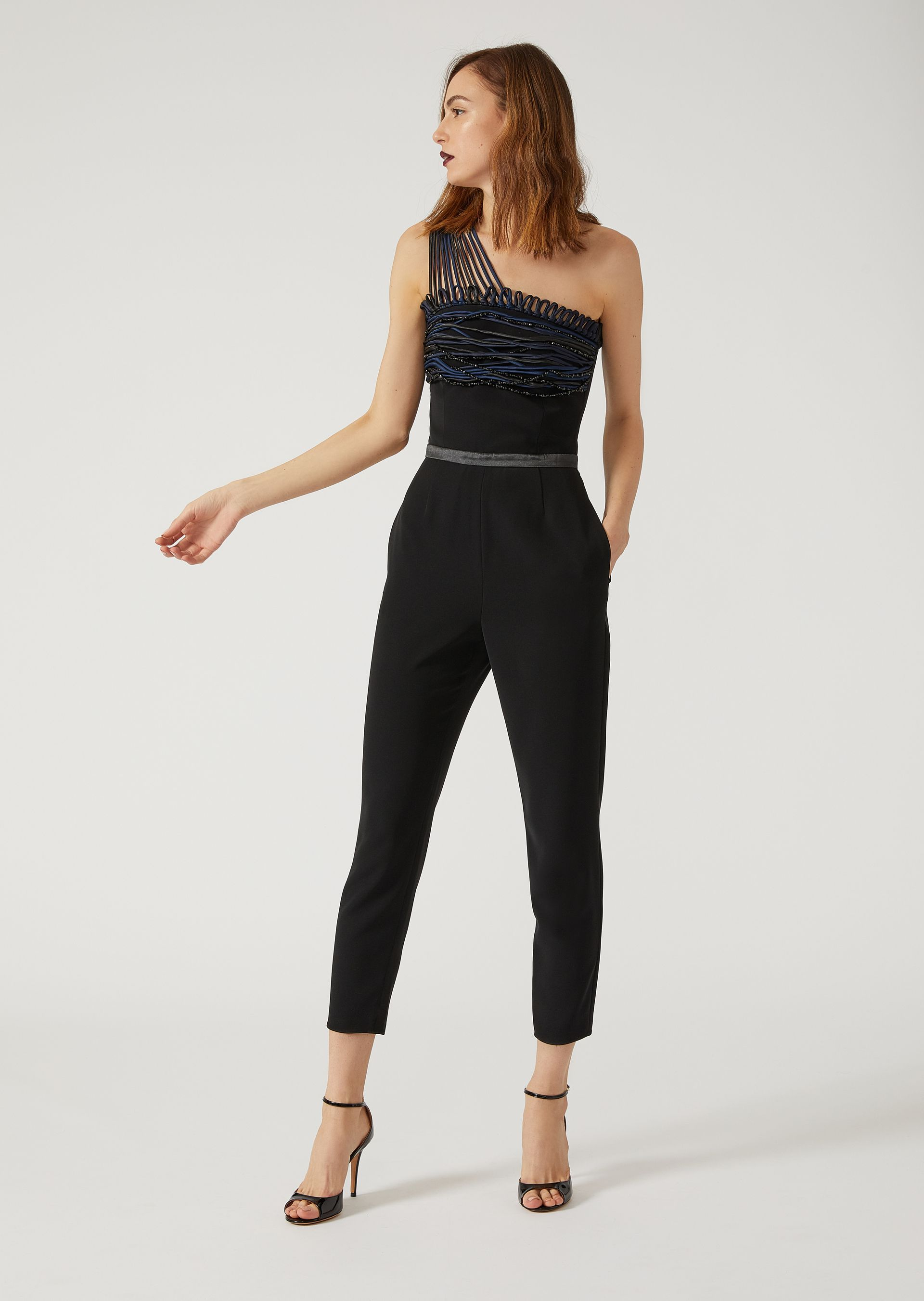 433637e0f5c Fine materials and design for this Crêpe And Satin Jumpsuit With Decorative  Beaded Detailing by Emporio Armani Women. Take a look at the official  online ...