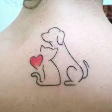 Tatuagem gato e cachorro fofa