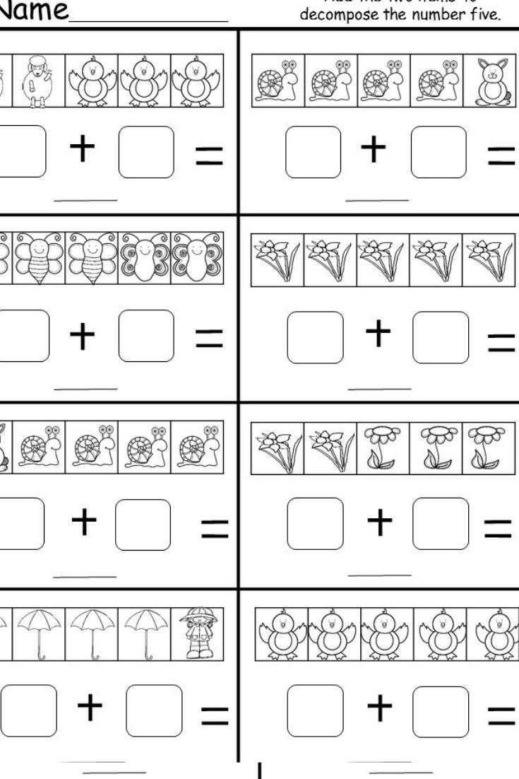 Decomposing Numbers Numbers Kindergarten Kindergarten Subtraction Worksheets Subtraction Kindergarten [ 1102 x 735 Pixel ]