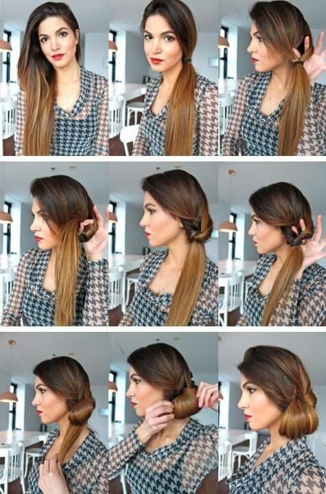 peinados para cabello largo-para ir a la oficina paso a paso