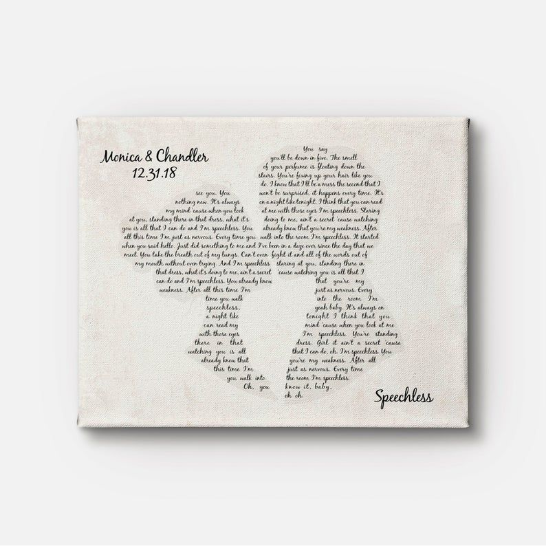 Couple Kissing Shape Canvas Art – Any Song Lyrics – Favorite Song – Wedding First Dance Song – Wedding Gift – Anniversary Gift – Wall Decor
