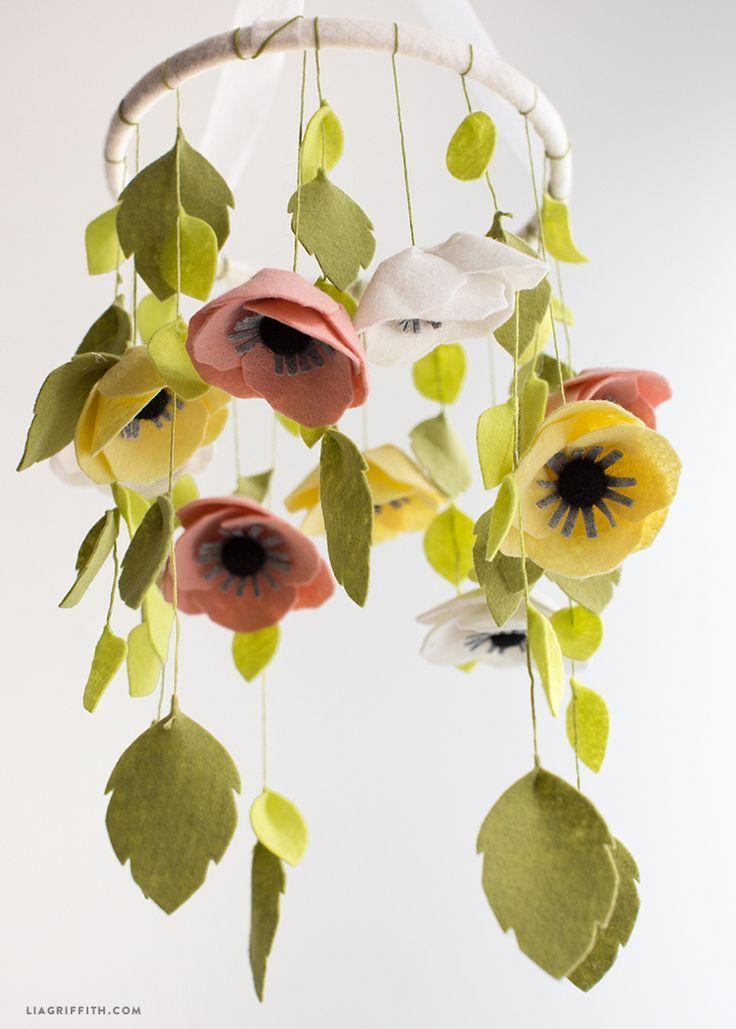 Felt Flower Mobile | Flower mobile, Felt flowers, Felt diy