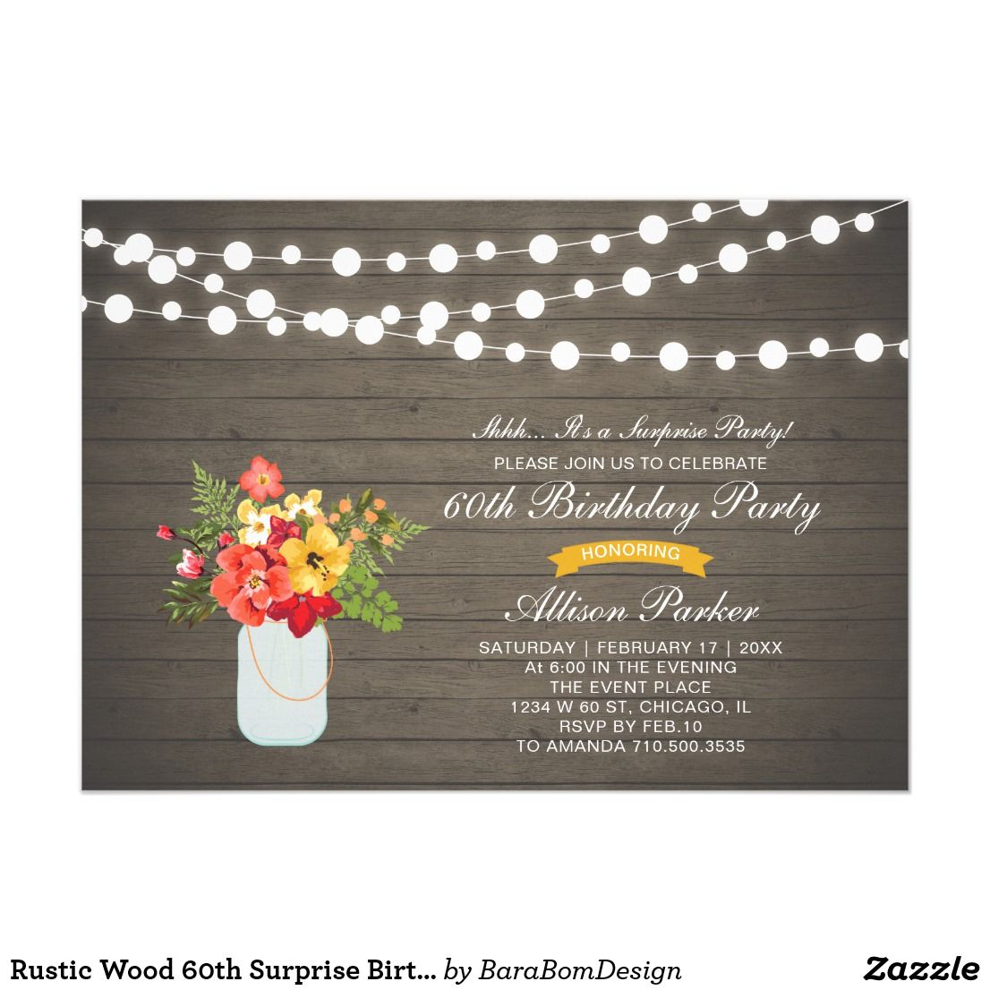 Rustic Wood 60th Surprise Birthday Party Invitation | Party ...