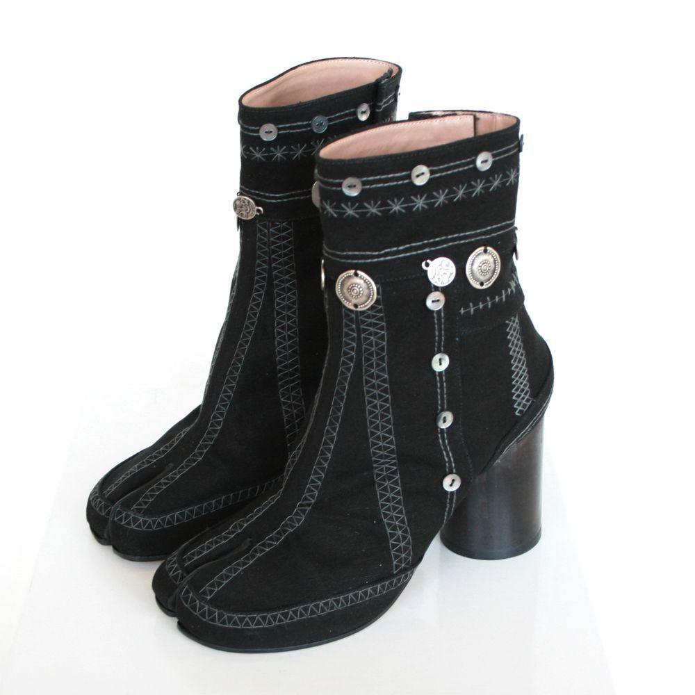 3c63268d8ac MAISON MARTIN MARGIELA split toe shoes black velvet high heel tabi boots 36  NEW