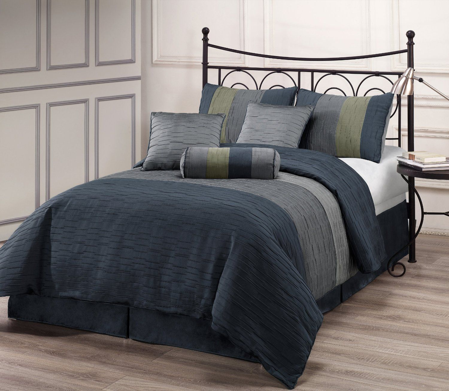 AmazonSmile ZADOOTH Queen Size 7 Piece forter Set Slate Blue