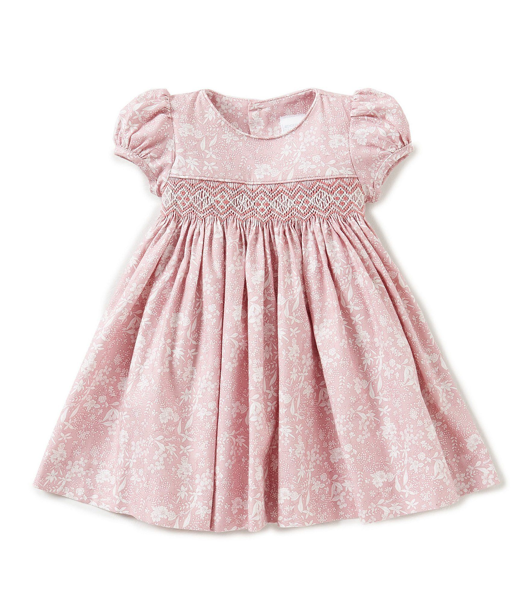 Edgehill Collection Baby Girls 3 24 Months Floral Print Smocked Dress