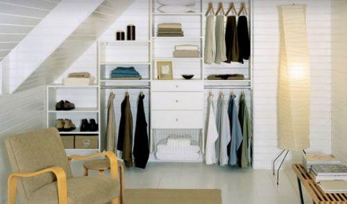 begehbarer kleiderschrank und ordnungsystem dachschräge, Schlafzimmer entwurf
