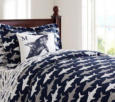 Preppy Shark Standard Sham Kids Bedroom Inspiration