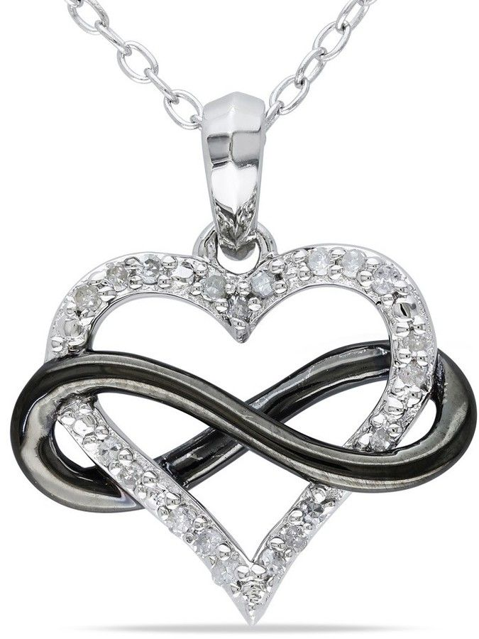 68c416825 Ice.com 1/10 CT Diamond TW Fashion Pendant With Chain Silver GH I2;I3 Black  Rhodium Plated - ShopStyle