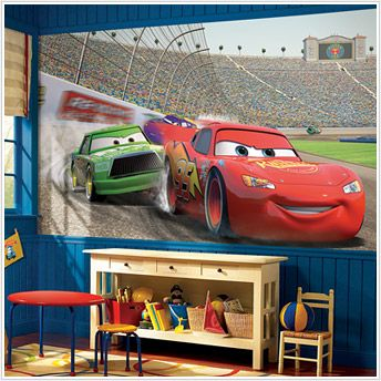 Cars boys bedroom... this would definitely go with his car bed ...