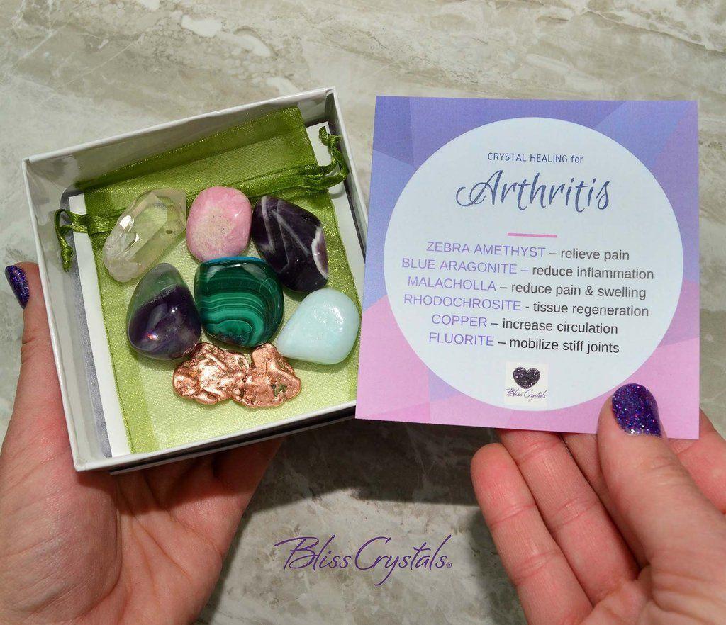 Crystals for arthritis set of 7 stones gift box bag