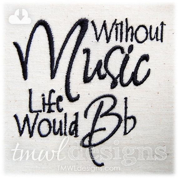 Without Music Embroidery Digital Design File  5x7 by TMWLdesigns