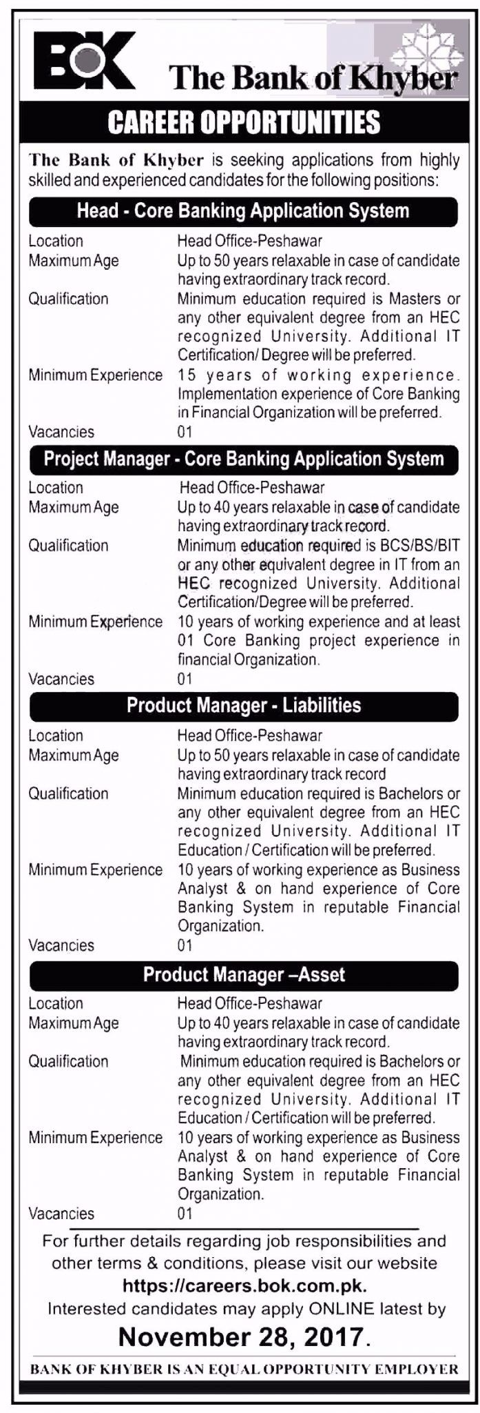 The Bank Of Khyber Bok Jobs  For Project And Product Managers
