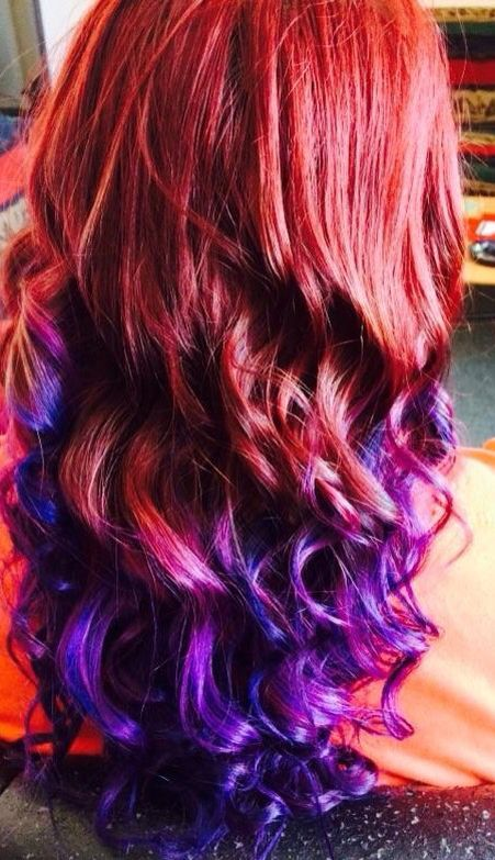 Natural Red Hair With Purple Tips Google Search