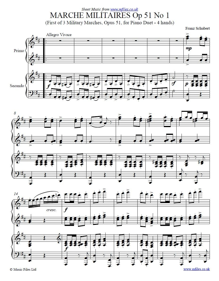 Schubert: Marche Militaire No 1 for Piano Duet, with score