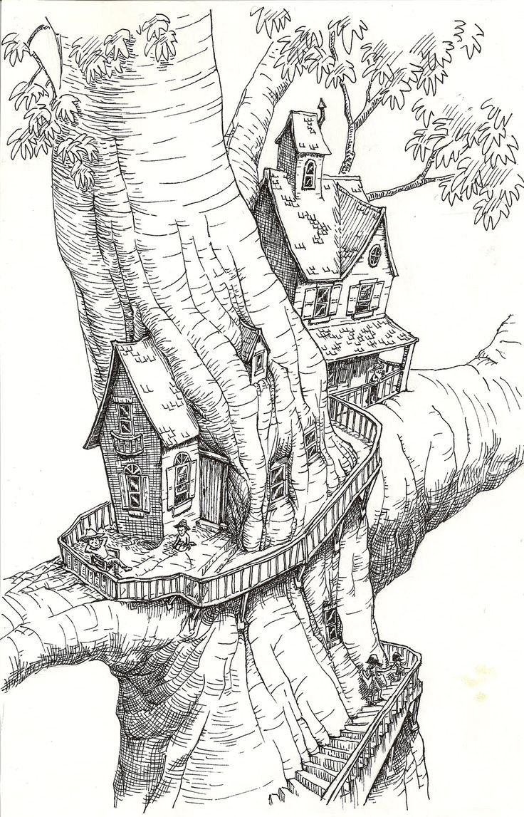 Coloring Pages Of A Tree House With Treehouse Mesin Co