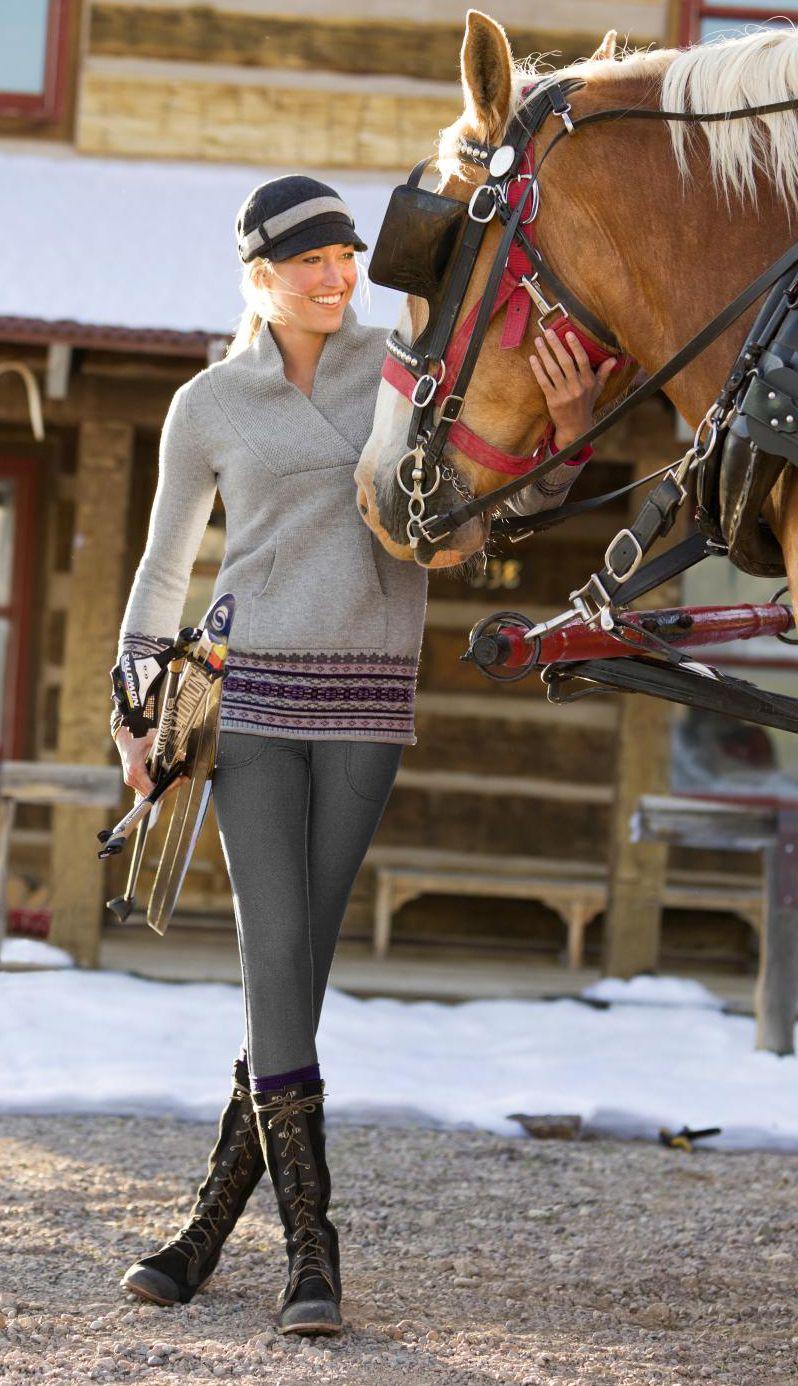 Sequoia Tunic + Knit Denim Slim Trek Pant | Athleta Winter 2012 Collection