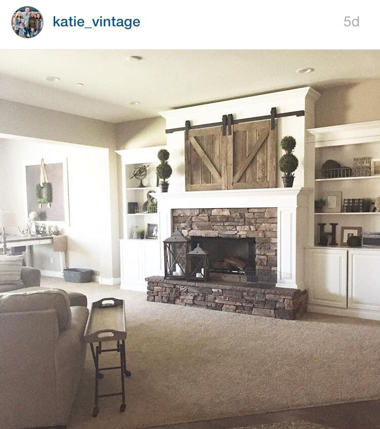 Mantle barn doors over tv interior barn doors barn - Ideas to cover fireplace opening ...
