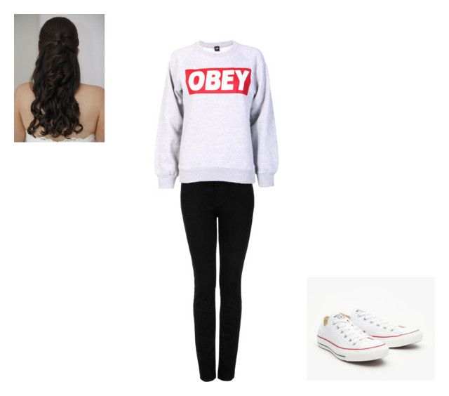 chill time!!!! by ladiee-e on Polyvore featuring OBEY Clothing, Topshop and Converse