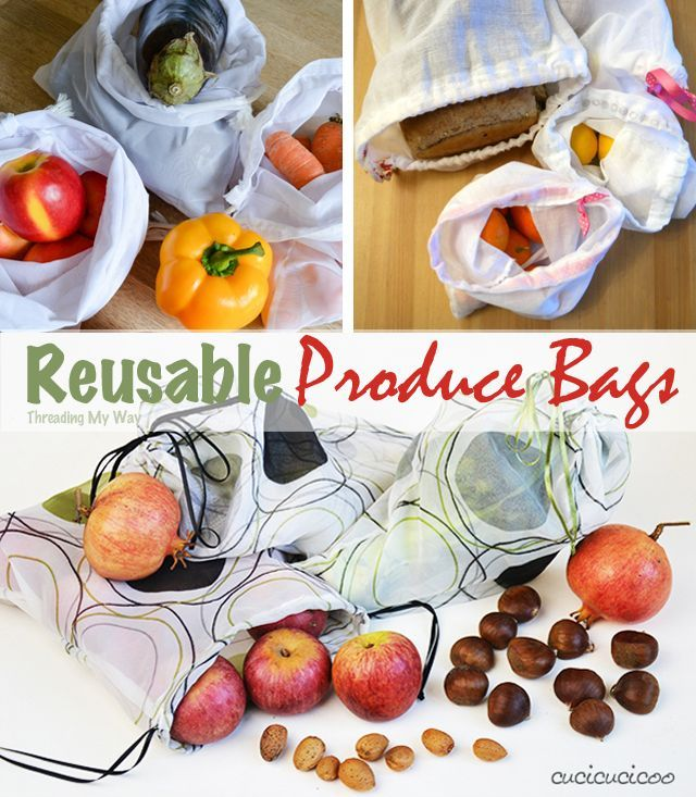 Reusable produce bags, Sewing projects for kids, Produce bags, Easy sewing projects, Projects for kids, Bag making - Ditch the plastic & make your own reusable produce bags for fruit & vegetables  Thr -  #Reusableproduce #bags