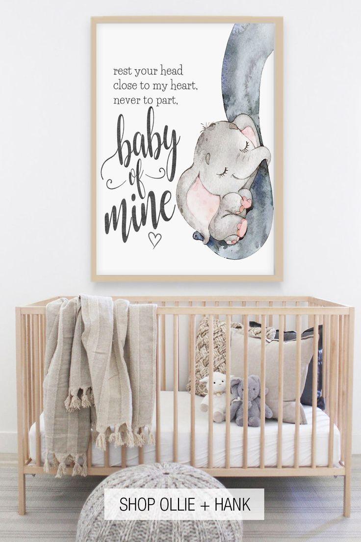 Elephant Nursery Decor  Baby Of Mine Print in 23  Baby