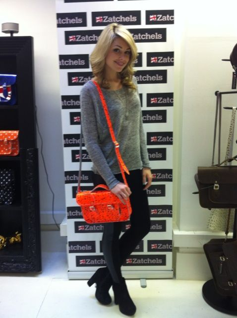 Former Miss #England Georgia Horsley modelling the new #Neon Floral #Satchel at #Zatchels #Press Day