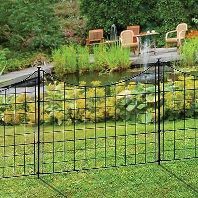 Fence Panels 139946: 5 Panel Black Metal Outdoor Semi Permanent Easy Install  Garden Fence Pet