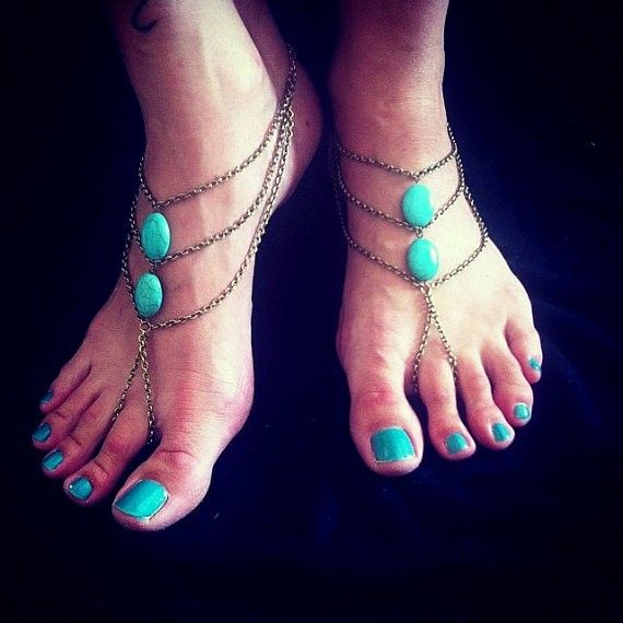 sc-080Antique bronze and howlite Trquoise oval beads Barefoot Sandals Gypsy Hippie Vintage look Beach wedding foot jewelry slave Anklets by Inali (2)