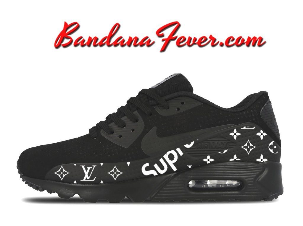 Bandana Fever Supreme LV Monogram Print Custom Black Nike Air Max ... 5bd6f8847