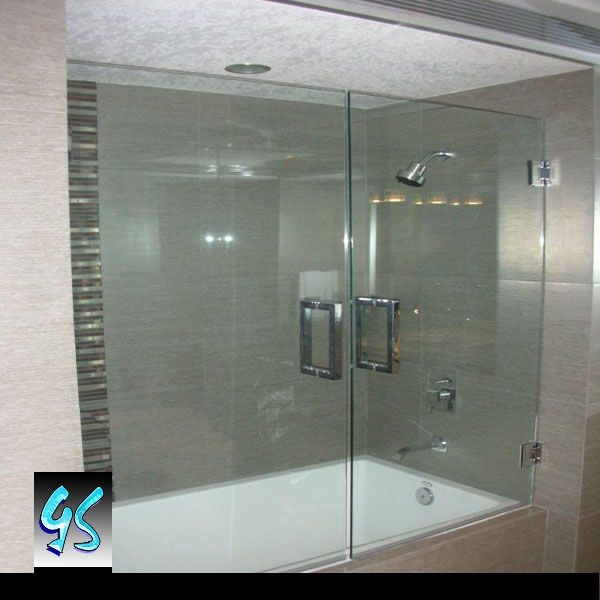 Glass Bathtub Double Doors without metal frame