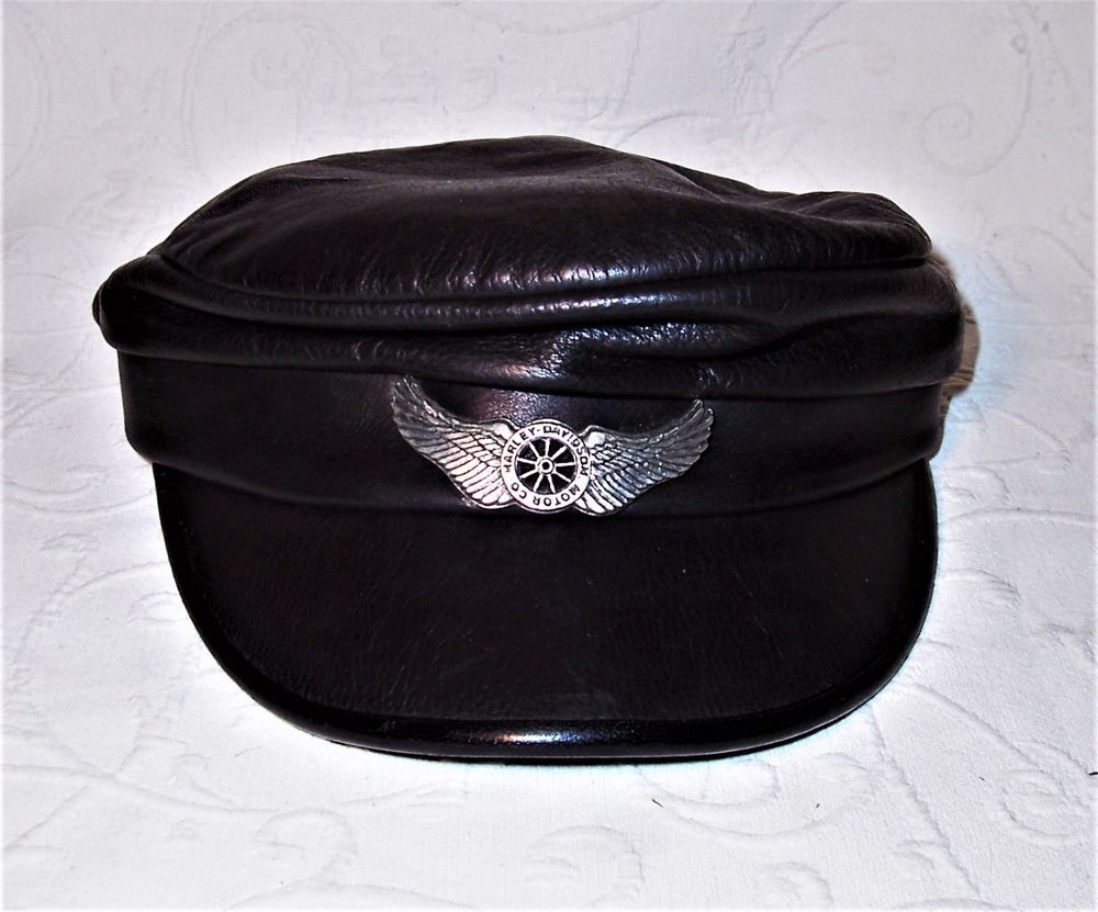 95f03e9f7ab721 Vintage Harley Davidson Motorcycle Genuine Black Leather Captain s Cap Med  EUC