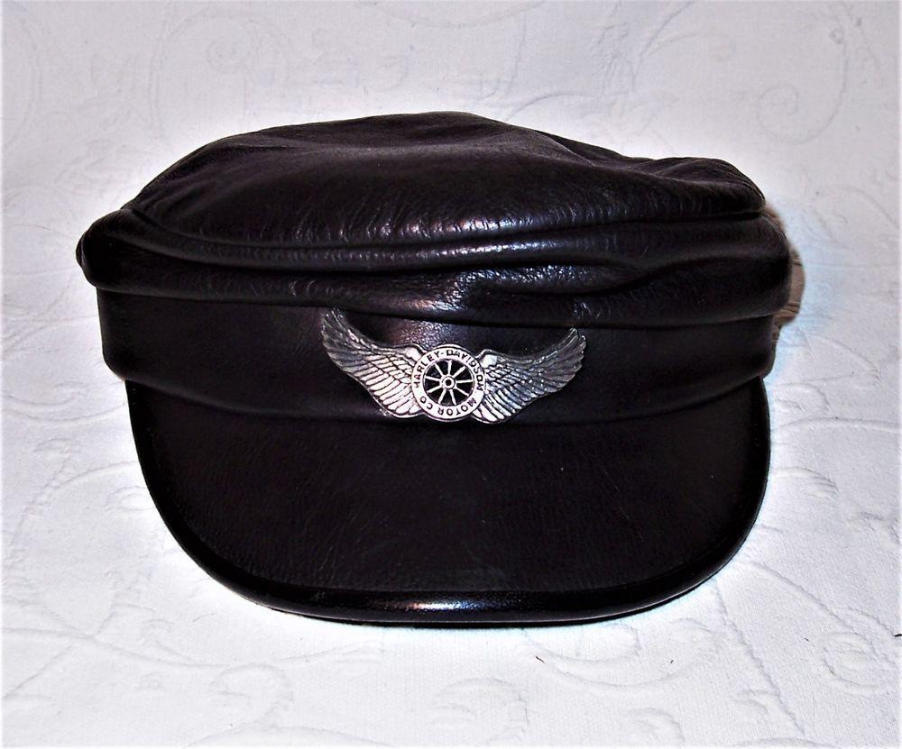 02cdcdf97eba75 Vintage Harley Davidson Motorcycle Genuine Black Leather Captain s Cap Med  EUC