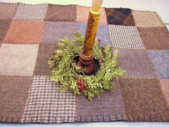Wool table runner by granniesraggedybags on Etsy, $23.00