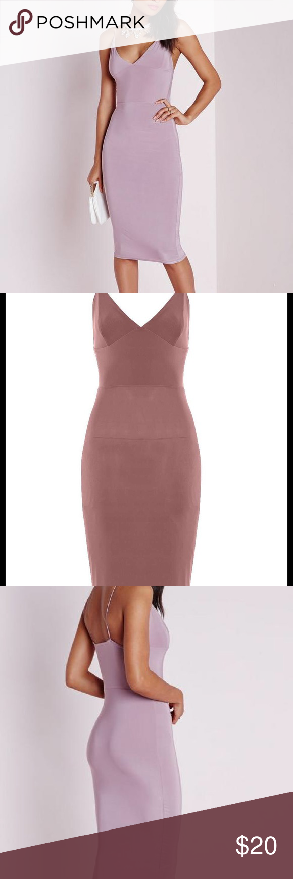 Misguided slinky midi dress mauve Misguided slinky midi dress mauve. Only worn once Missguided Dresses Midi