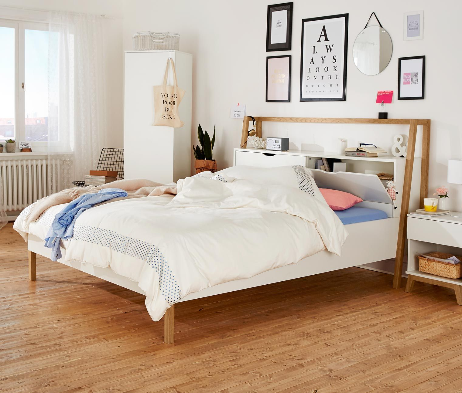 bett mit stauraumkopfteil tchibo pinterest bett raum und schlafzimmer. Black Bedroom Furniture Sets. Home Design Ideas