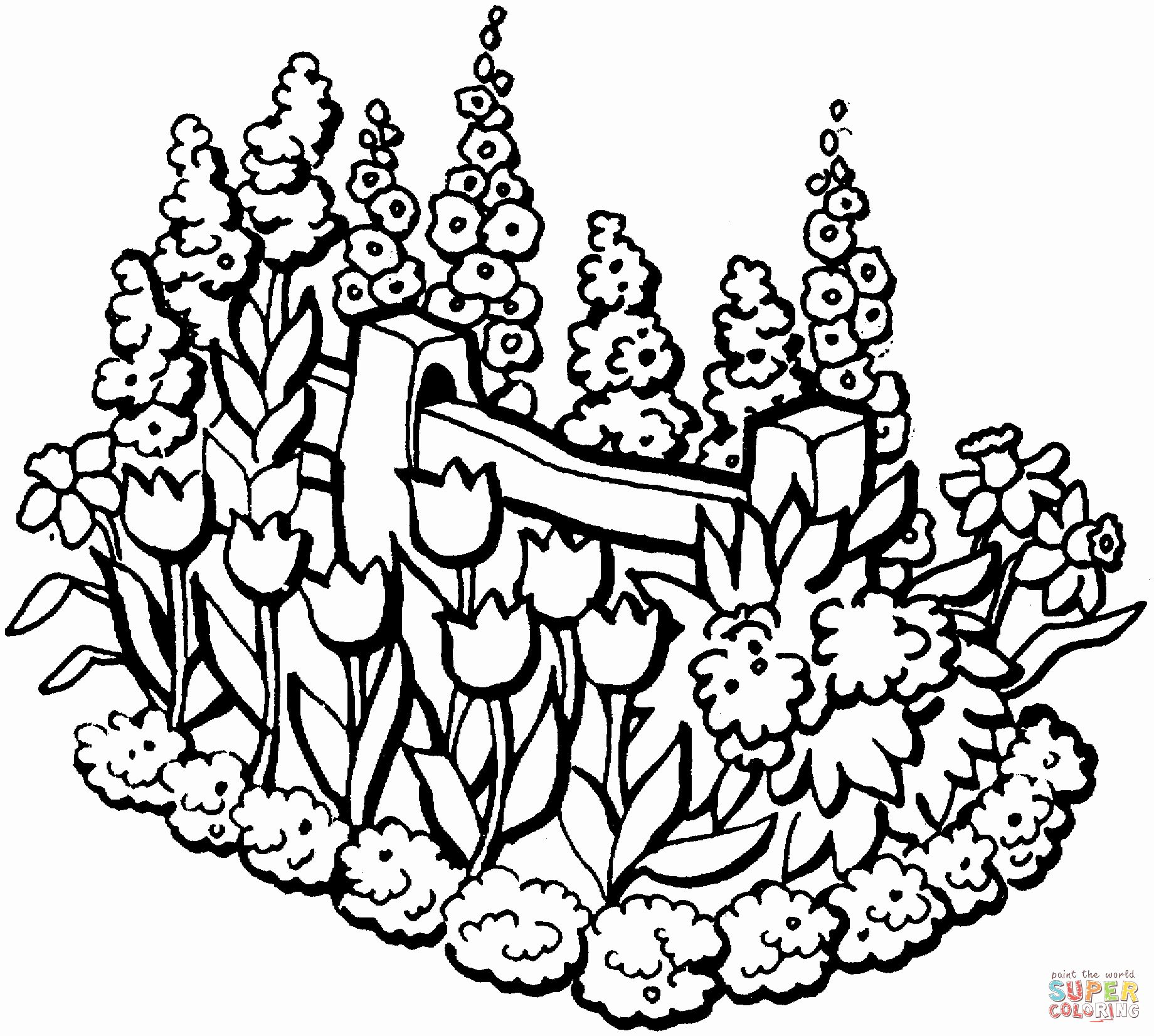 Flower Garden Coloring Pages Printable Inspirational Beautiful Garden In Summer Coloring Page Garden Coloring Pages Summer Coloring Pages Free Coloring Pages