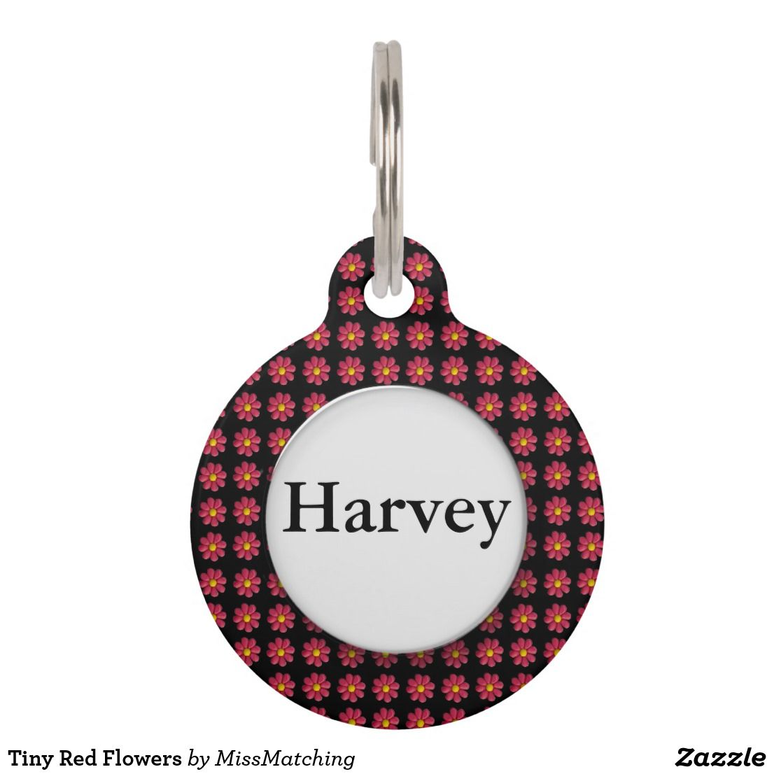 Tiny red flowers pet tag for pets pinterest personalized pet tags