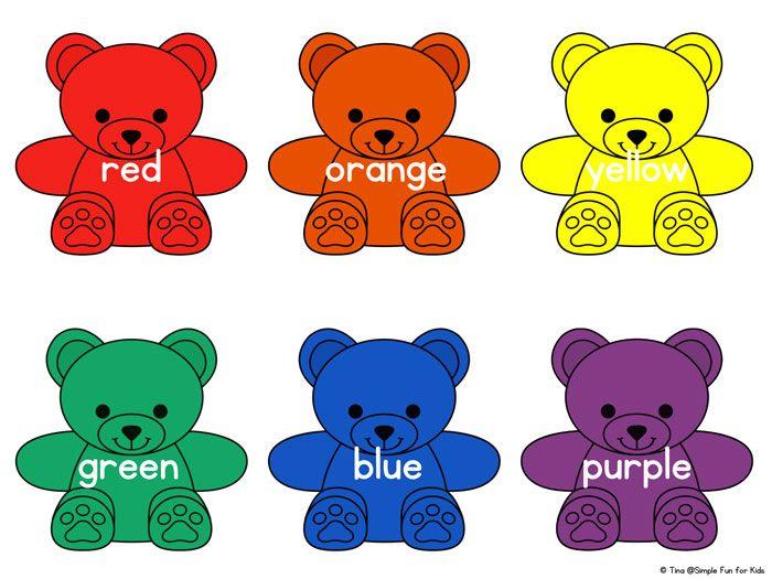 Rainbow Bear Colors Printable Simple Fun For Kids Bears Preschool Learning Colors Montessori Toddler Activities