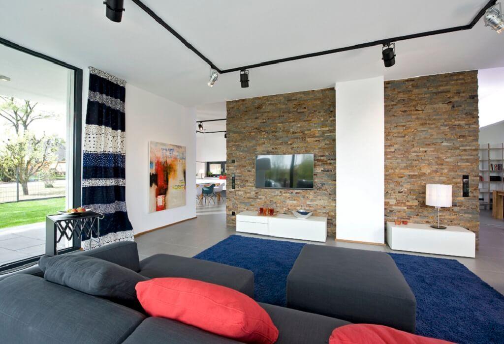 Wohnideen Wohnzimmer Raumteiler wohnzimmer mit steinwand als raumteiler wohnideen interior design