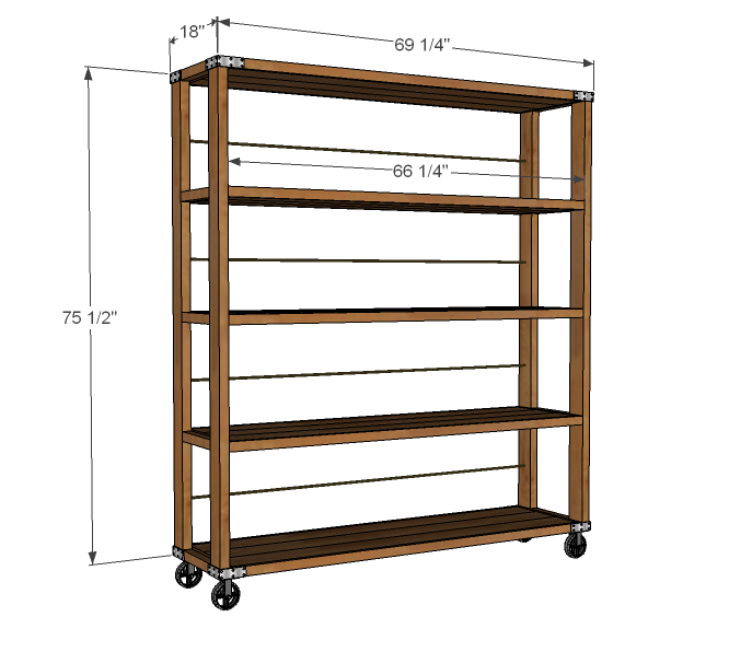 Ana White  Build a Rolling Industrial Shelves  Free and Easy DIY Project and ...